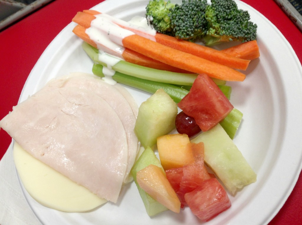 lunch meat and vegetables at game