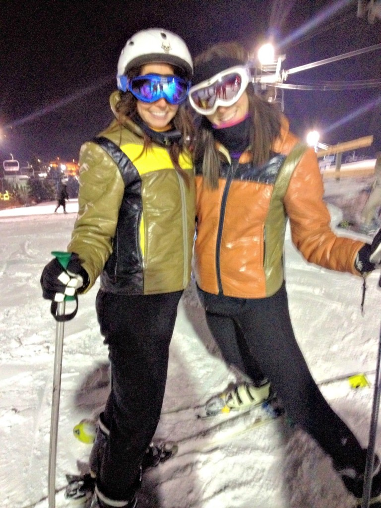 nichole and i about to ski down hill