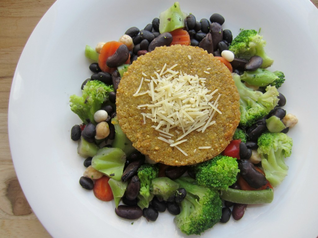 quinoa burger and steamed vegetables