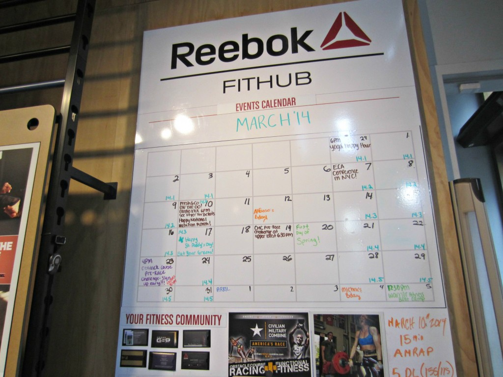 Reebok FitHub NYC activity board
