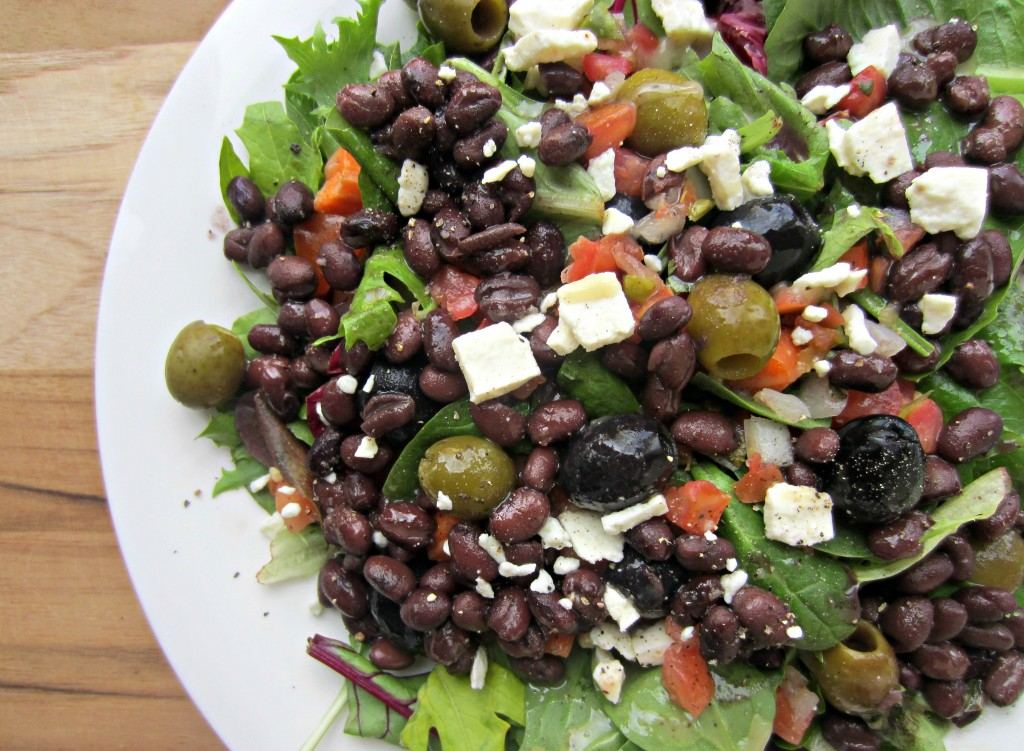 monster salad with beans feta and olives