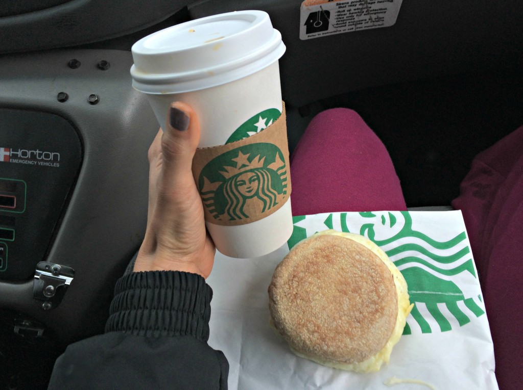 starbucks coffee and egg white muffin sandwich