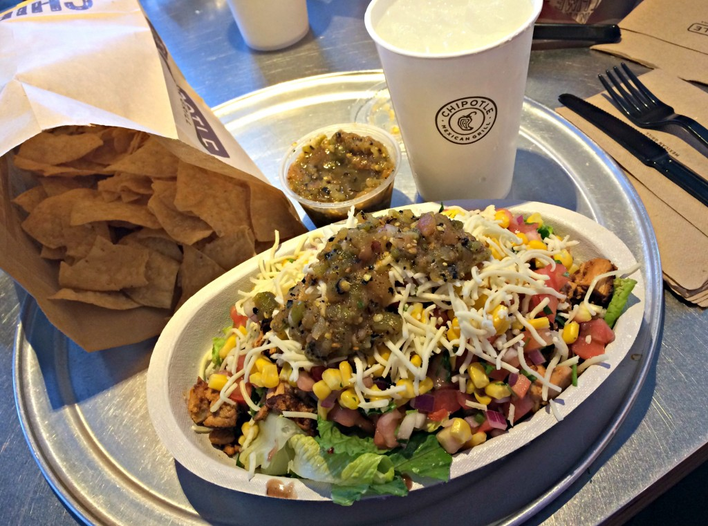 chipotle salad and chips