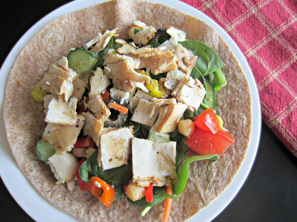 deli chicken and veggie wrap