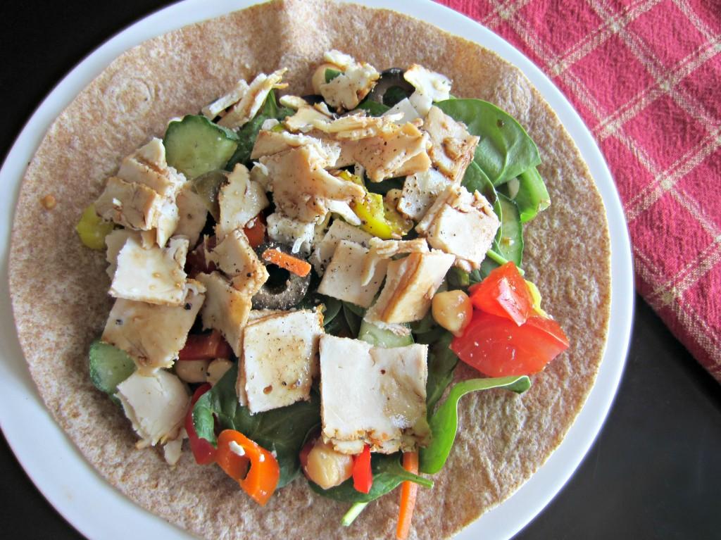 deli chicken and veggie wrap