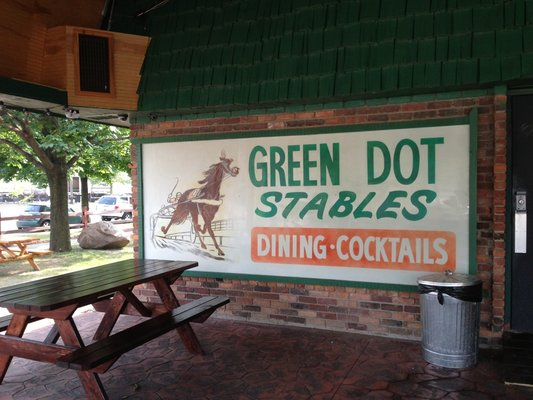 green dot stables outside patio