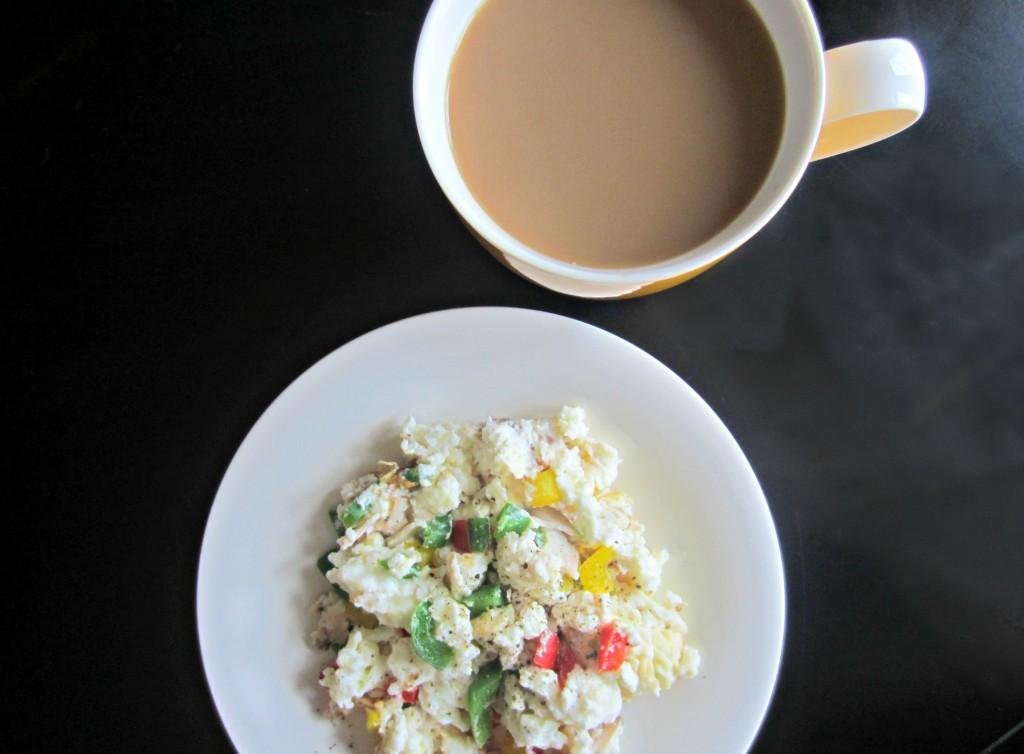 scrambled egg whites and veggies for breakfast