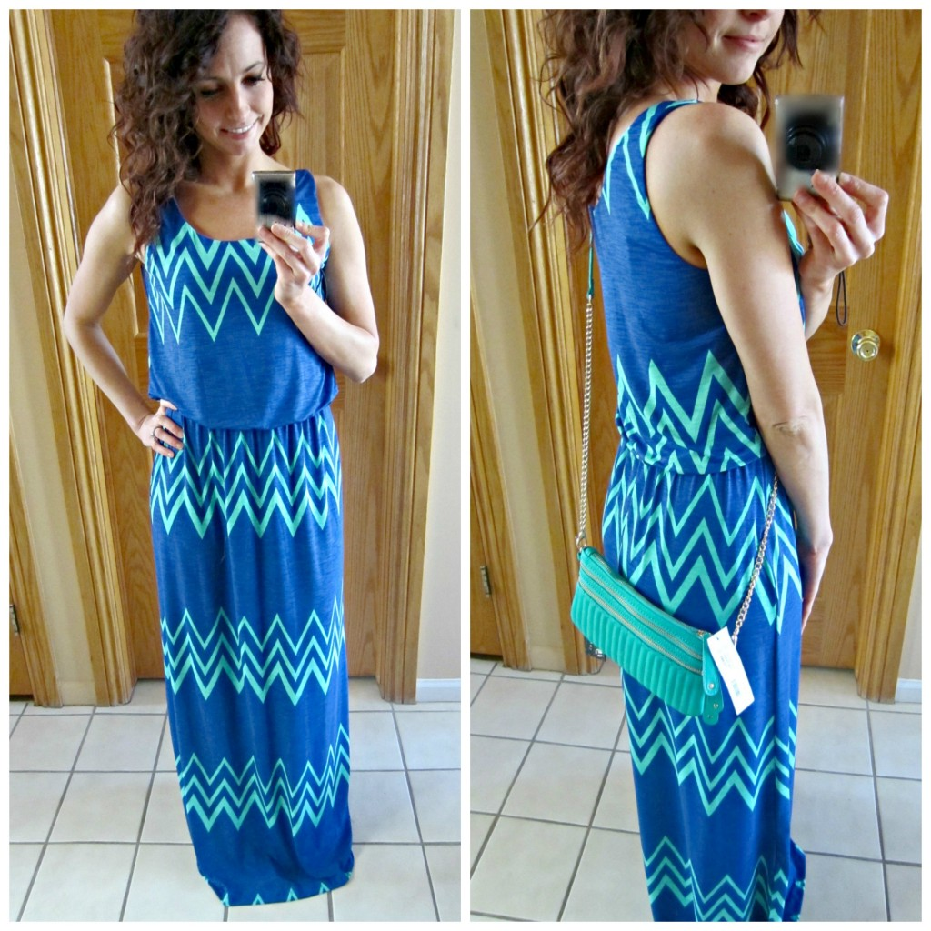 stitch fix jakobe chevron print maxi dress in mirror with purse