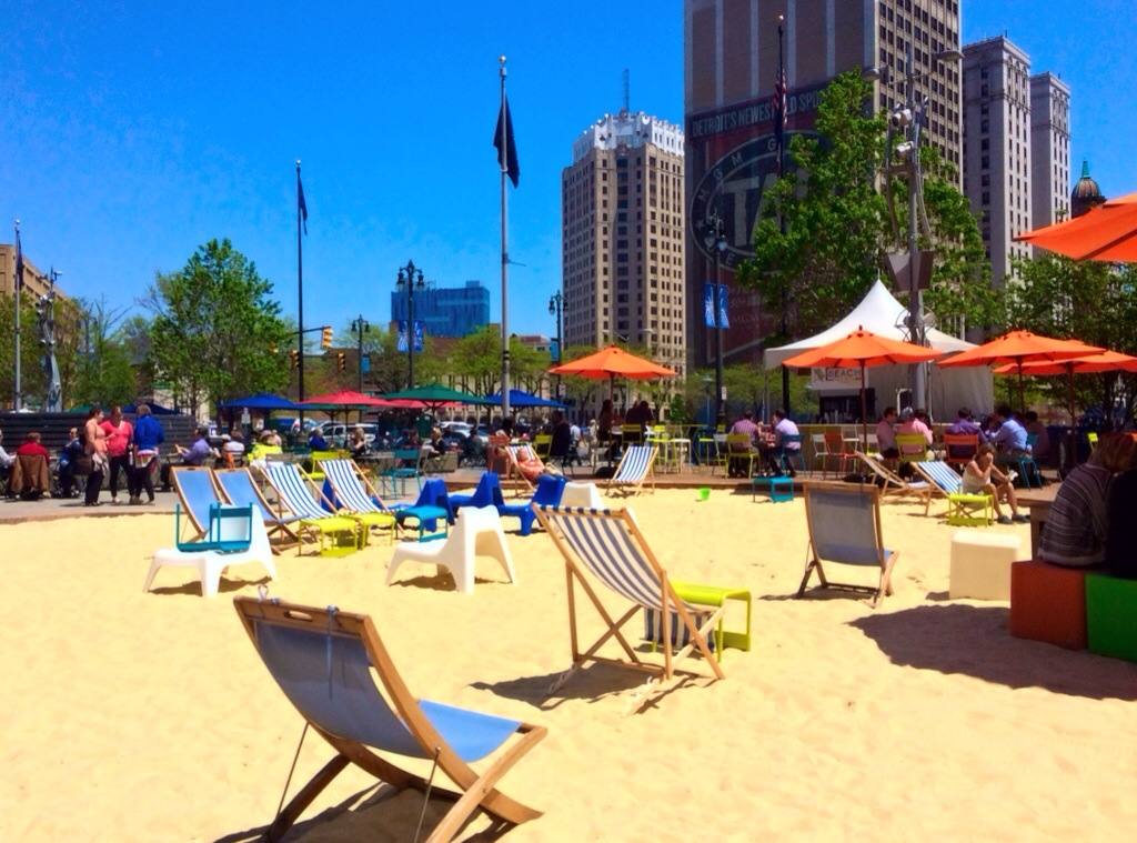 Campus Martius park beach