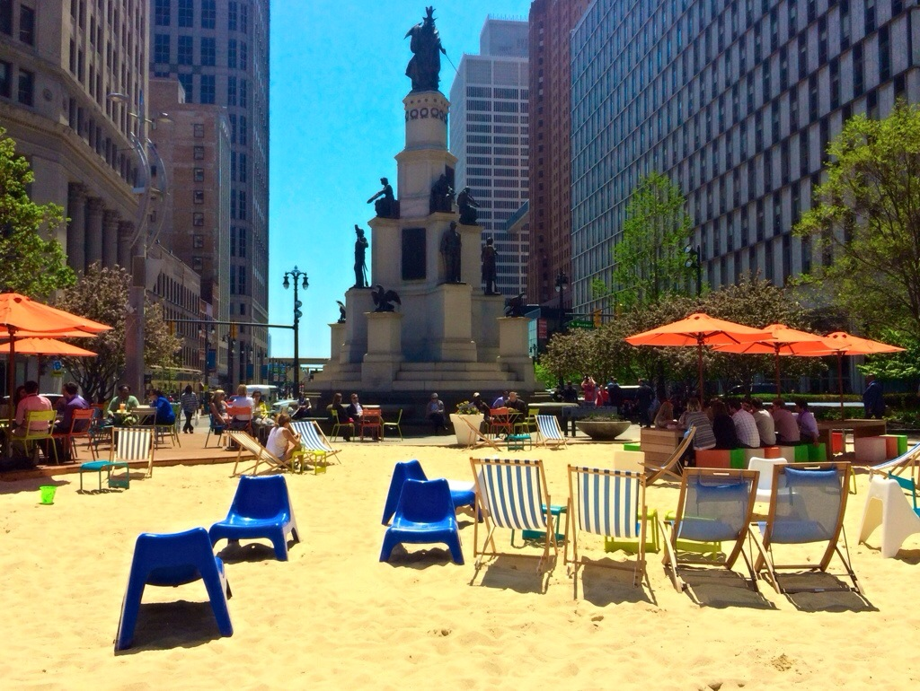 Campus Martius park beach detroit