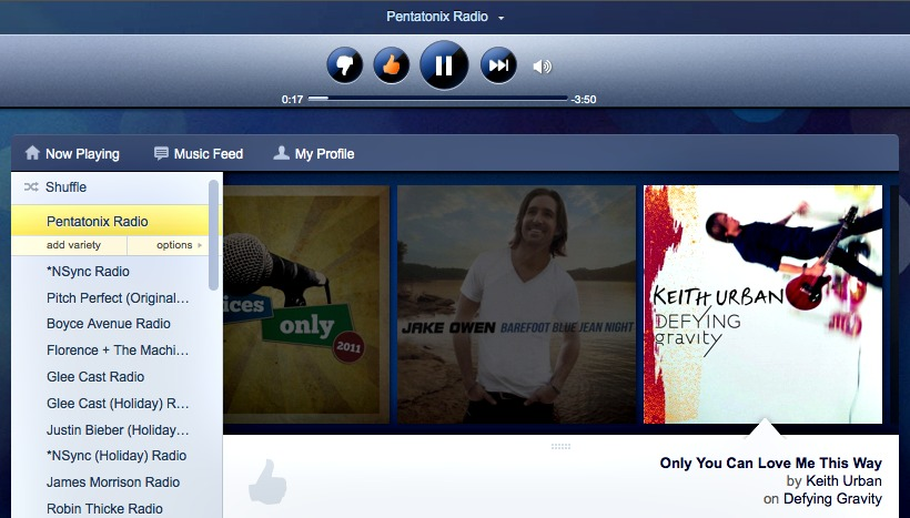 Pentatonix Radio with country on Pandora