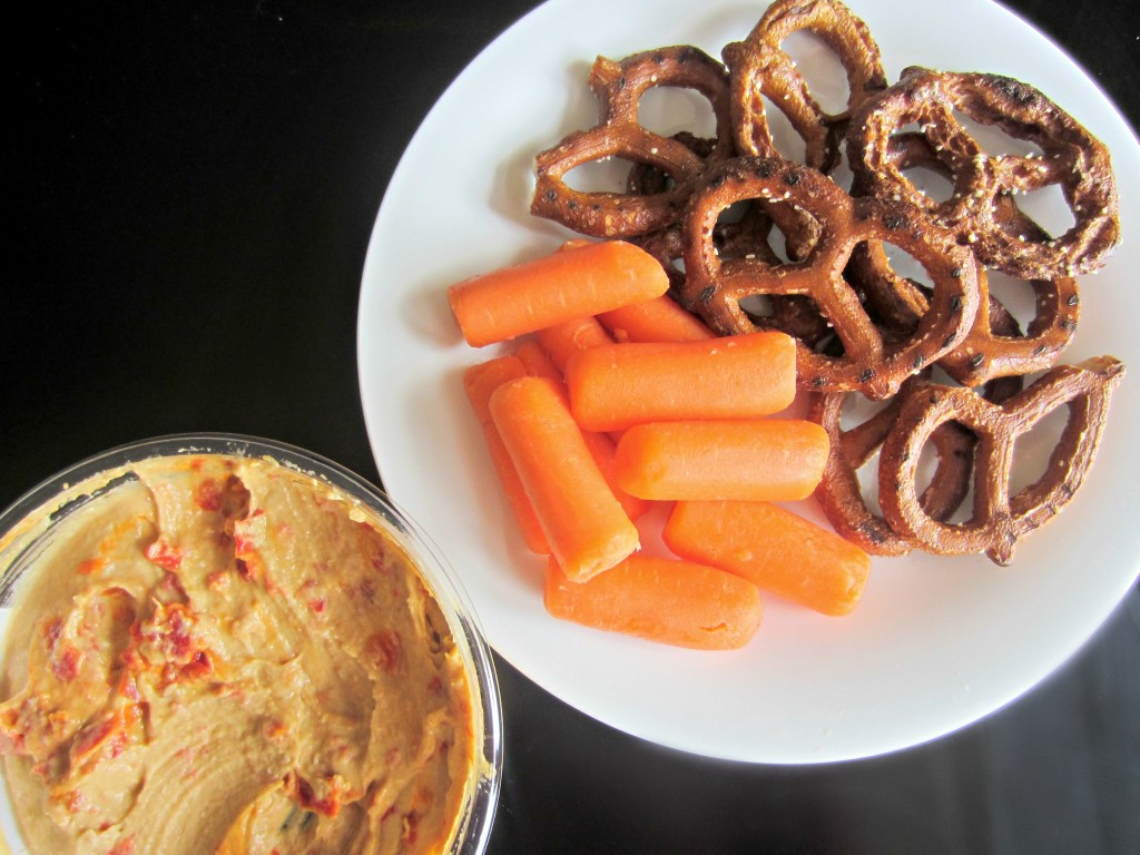healthy snack with hummus