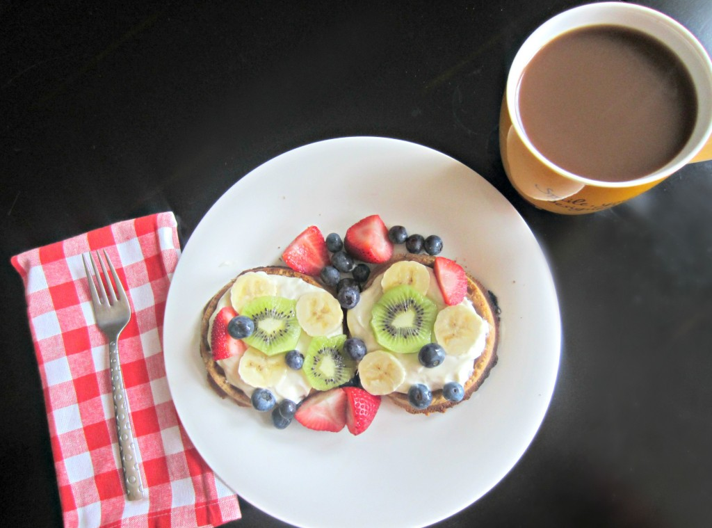 healthy waffles and fruit breakfast