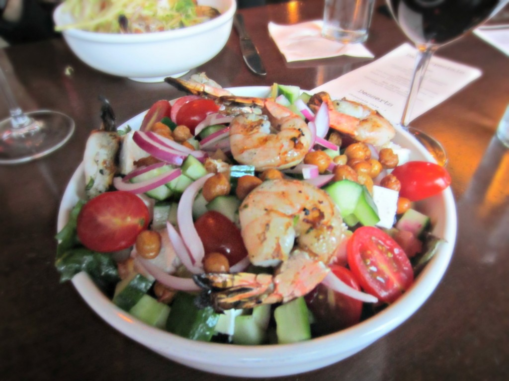 luxe greek salad with shrimp