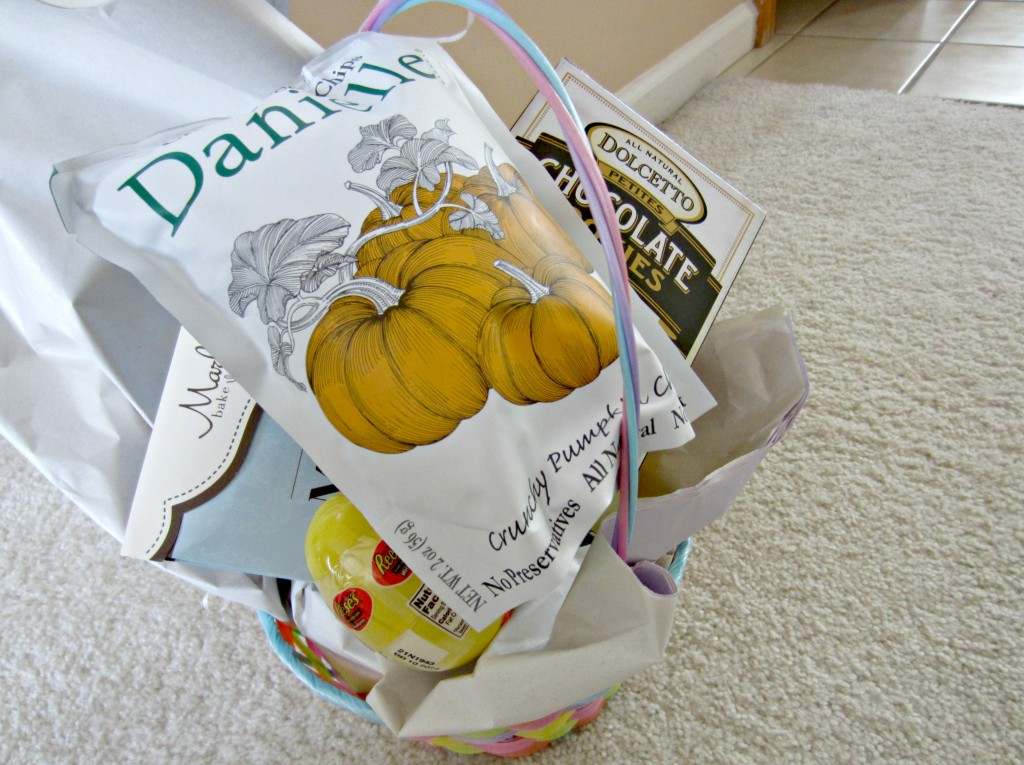 surprise birthday gift basket with home goods goodies