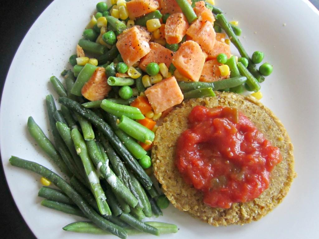 veggie dinner with quinoa burger