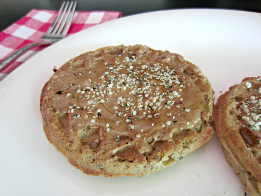 buckwheat waffles peanut butter and hemp seeds healthy breakfast