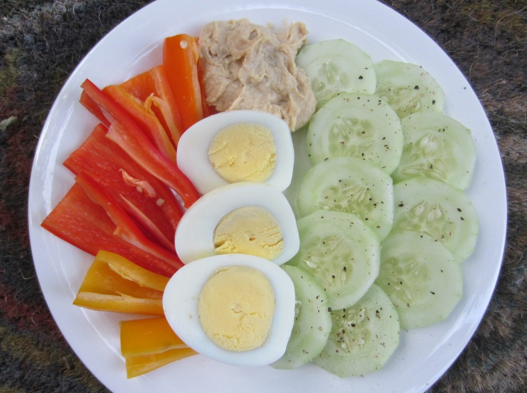 post-run snack with veggies and eggs