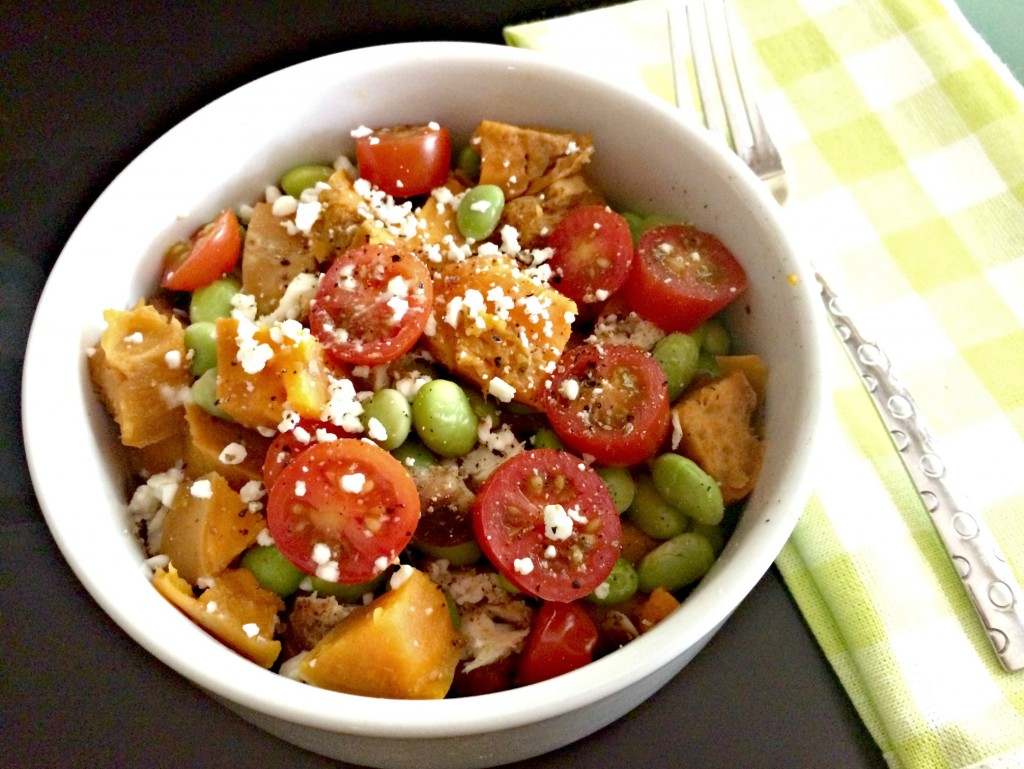 power bowl with sweet potato and chicken