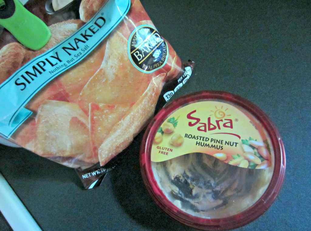 simply naked baked pita bread chips and hummus