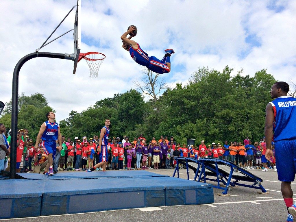 Bub dunking with Flight Crew