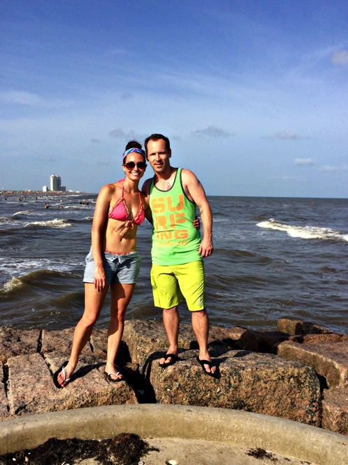 Scott and I on rocks Galveston jpg