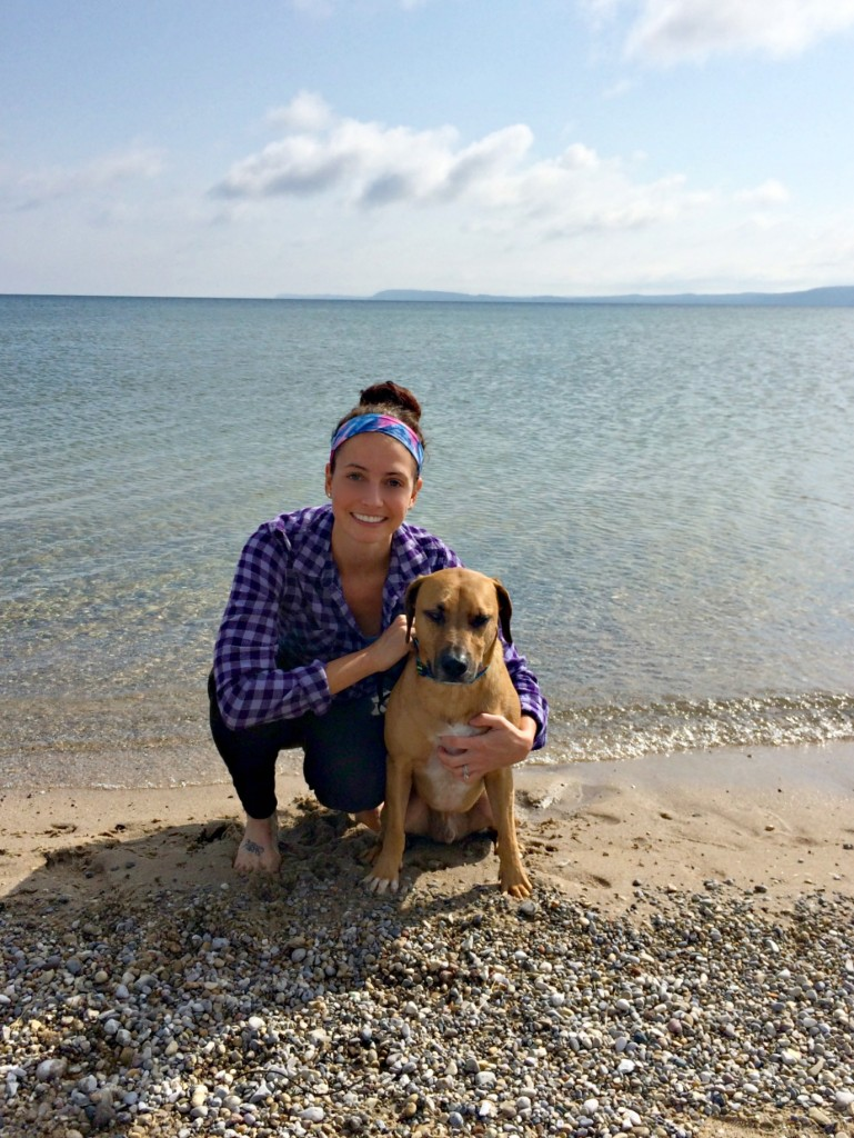 heather and roadie at the beach