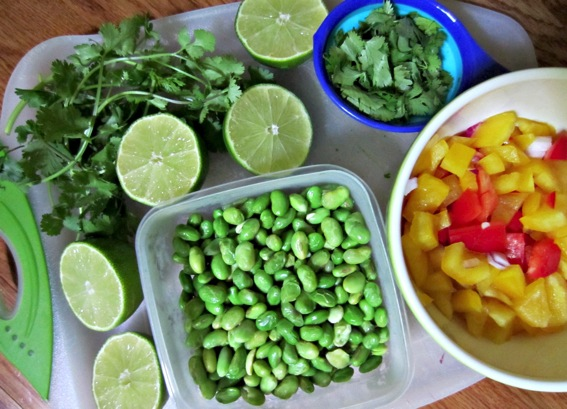 Ingredients for fiesta bean salad