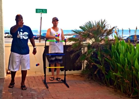 Ladder toss game at the beach jpg