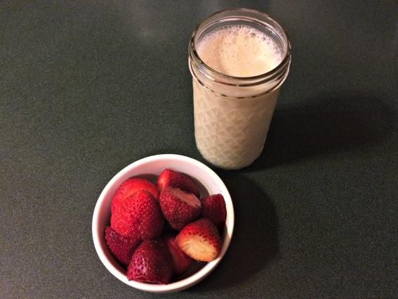 Late night almond milk and strawberries jpg