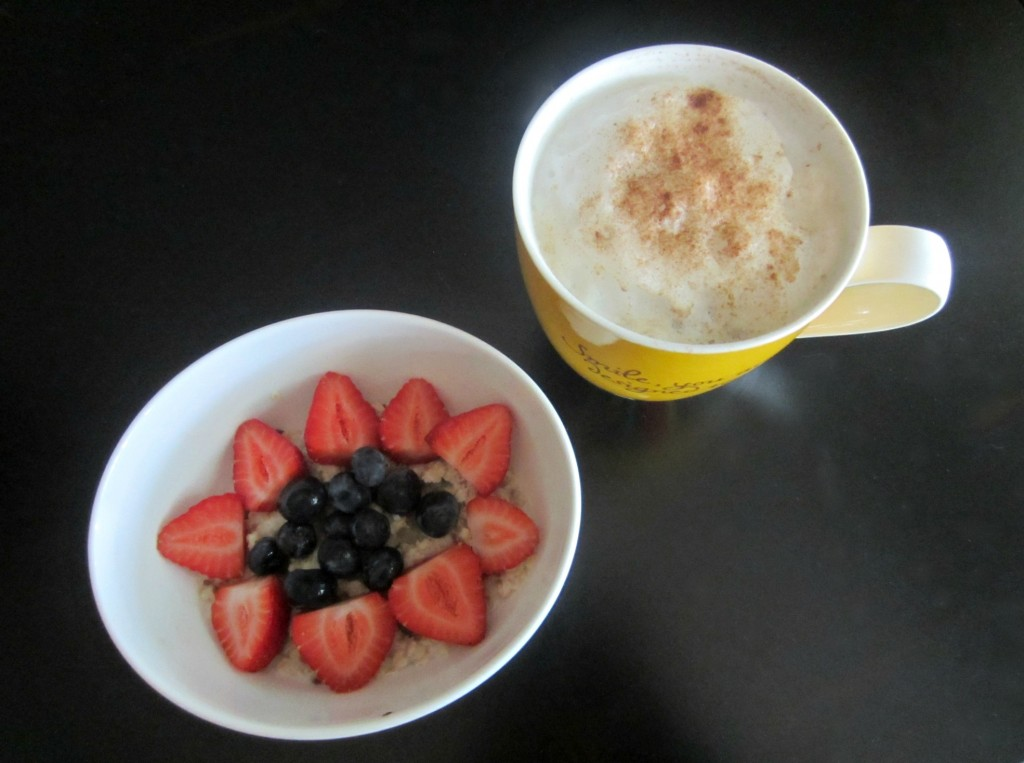 oatmeal breakfast with coffee