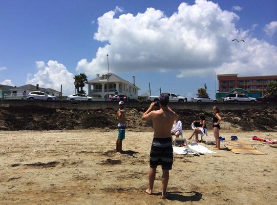 On galveston beach throwing footballs jpg