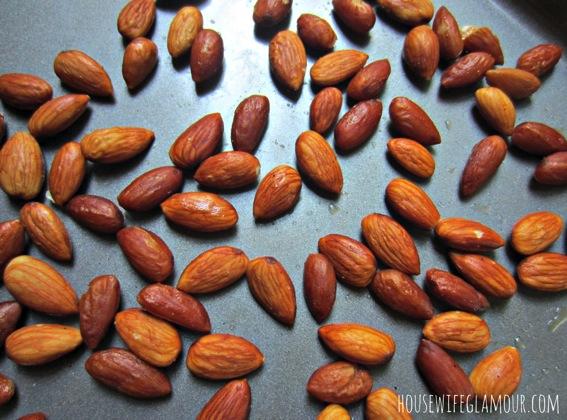 Roasting and soaking almonds jpg