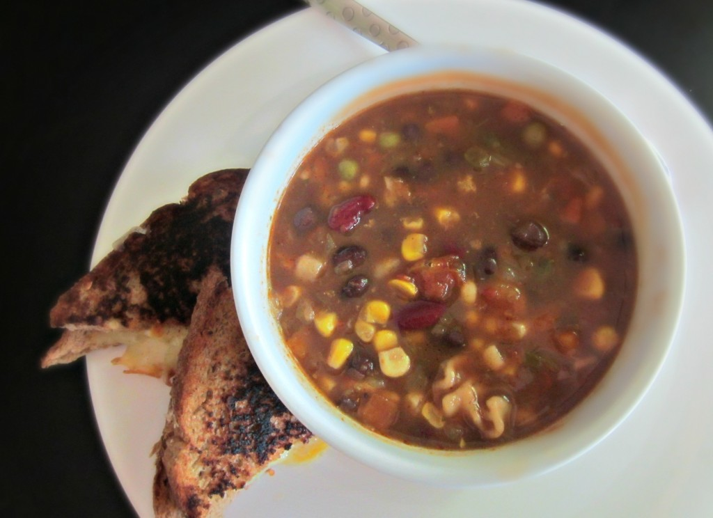 vegetable soup and grilled cheese