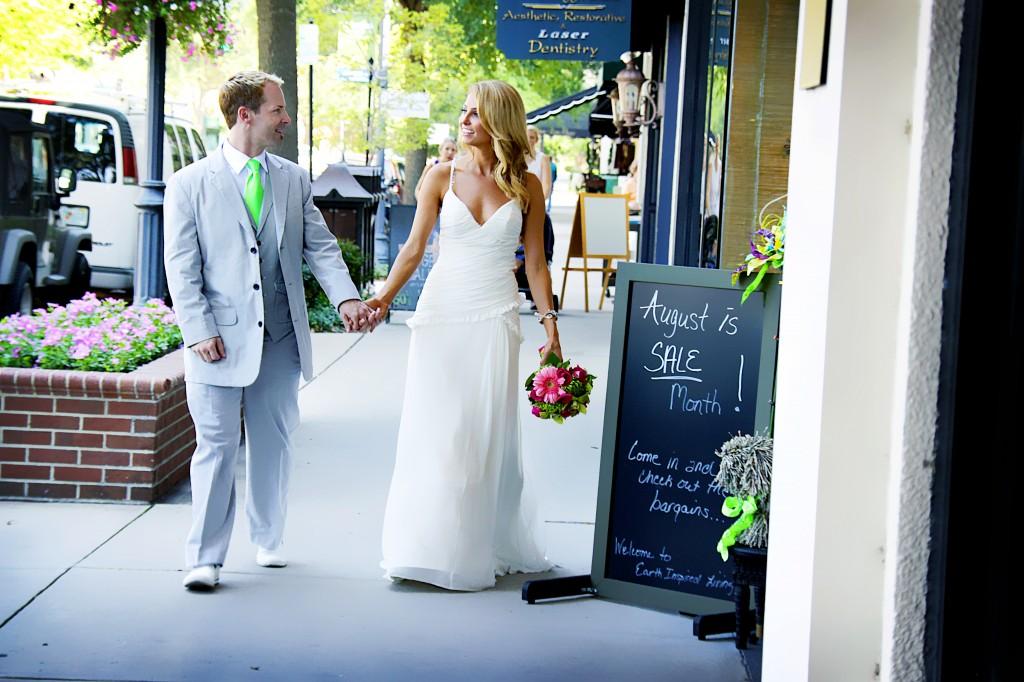 walking shot bride and groom