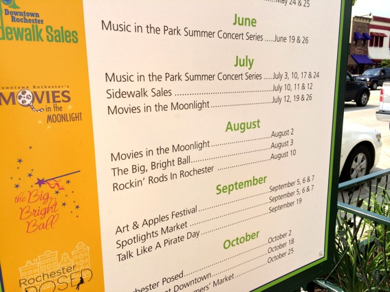 Downtown Rochester summer and fall events