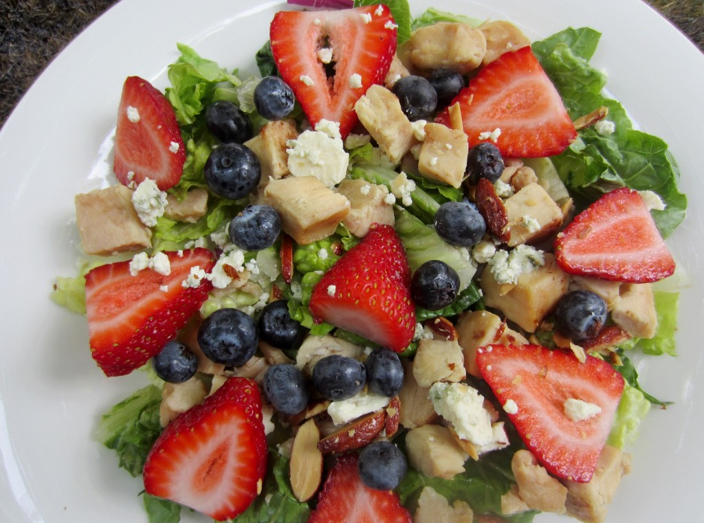 berry and honey roasted almond salad