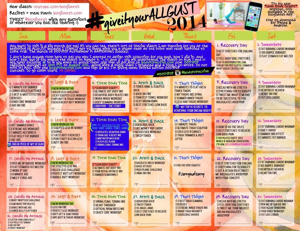 giveityourALLgust blogilates workout calendar