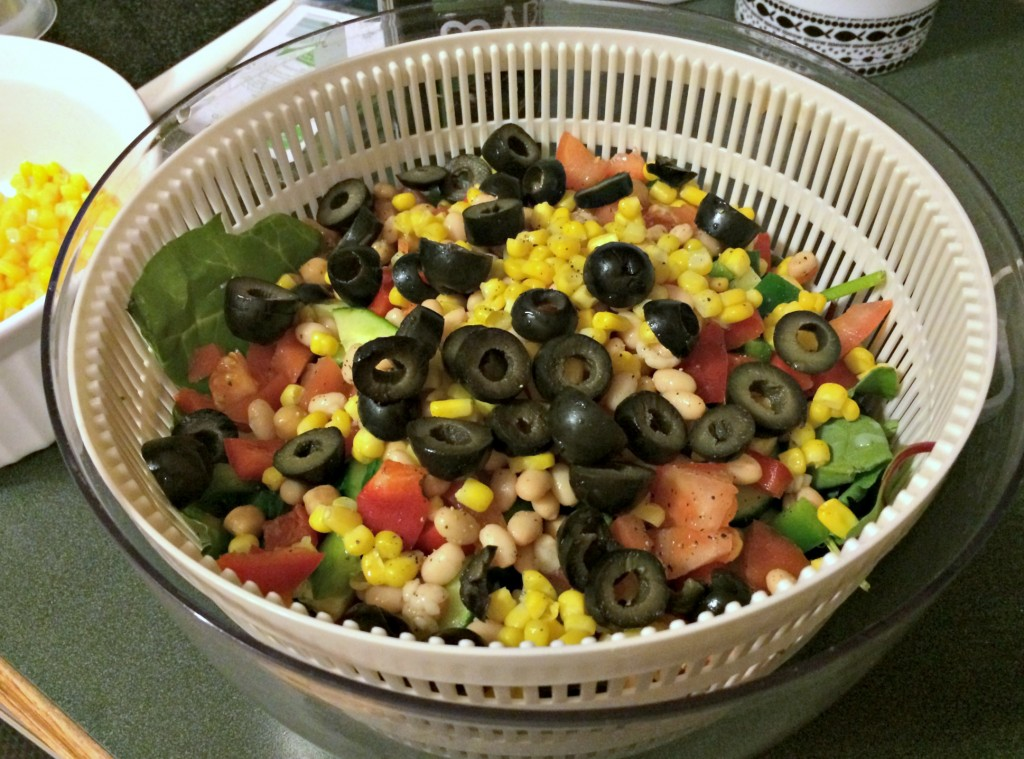 monster salad for dinner with corn and beans
