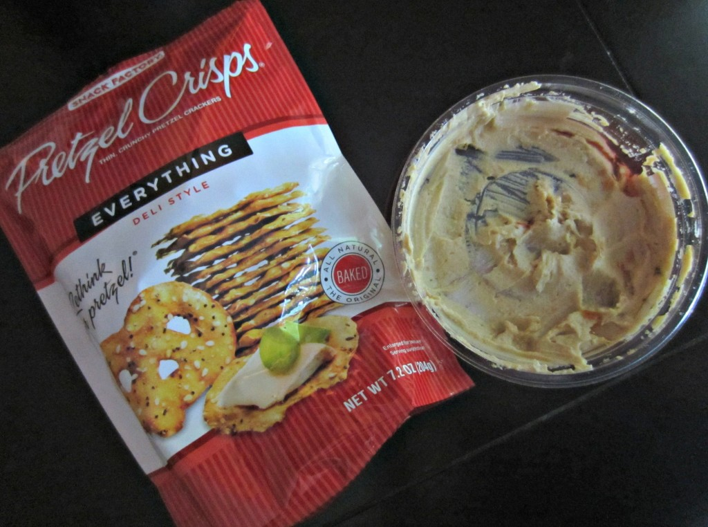 pretzel crisps everything flavor and hummus