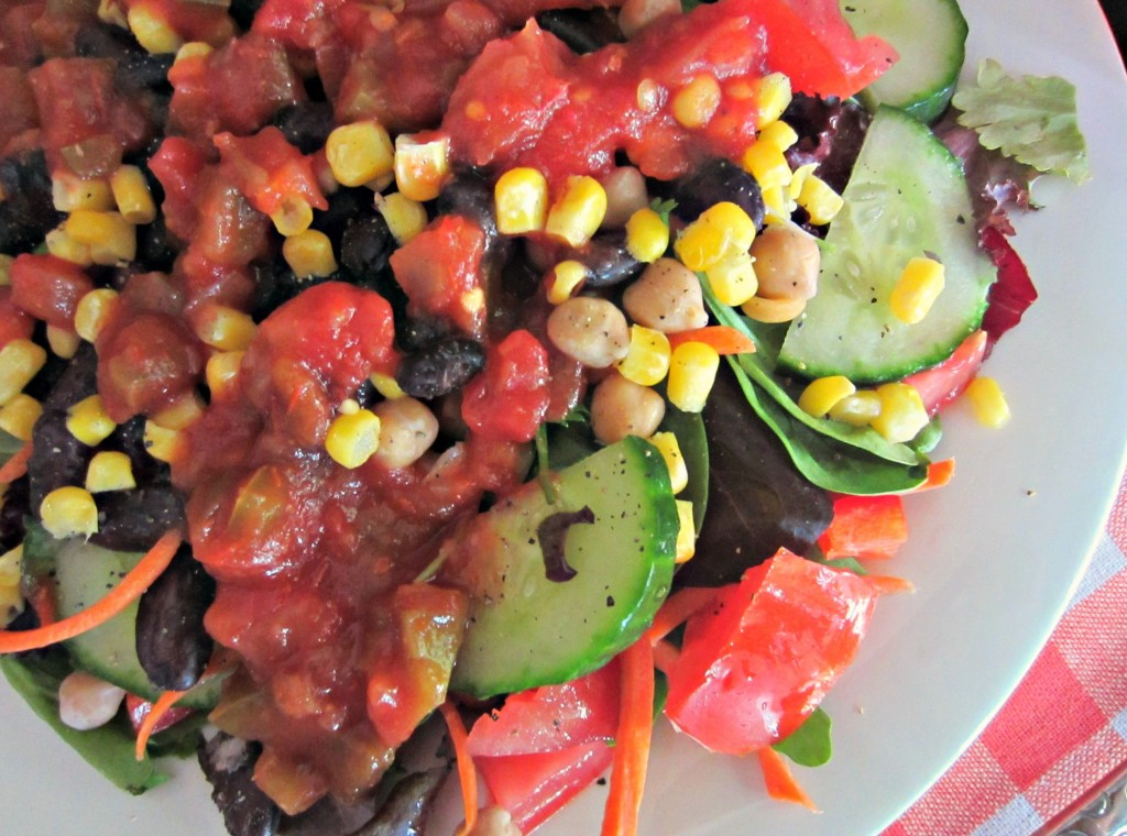 salad with corn salsa and beans close up