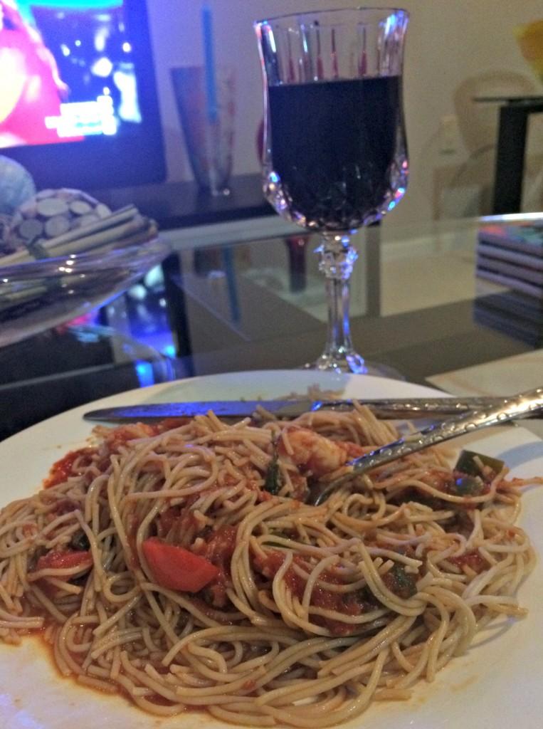 shrimp pasta and wine