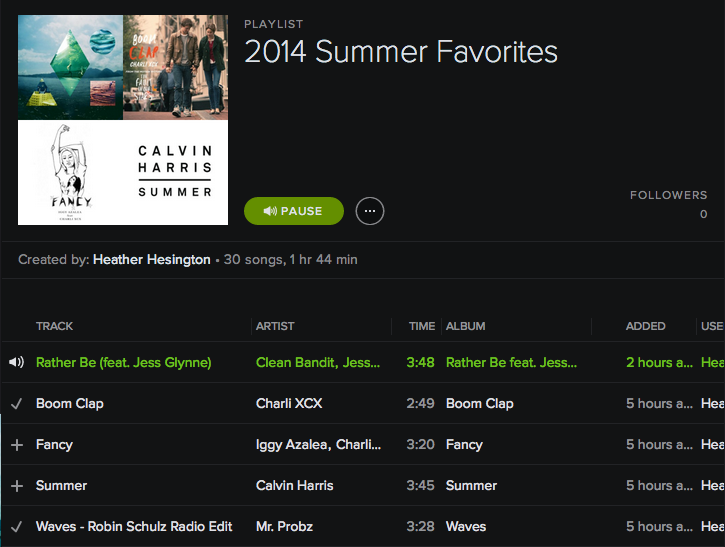 spotify summer favorites playlist