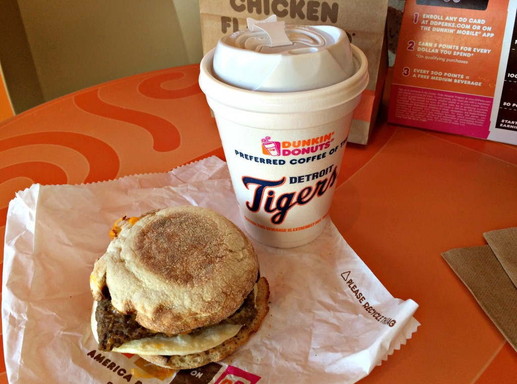 Dunkin Donuts coffee and turkey sausage english muffin