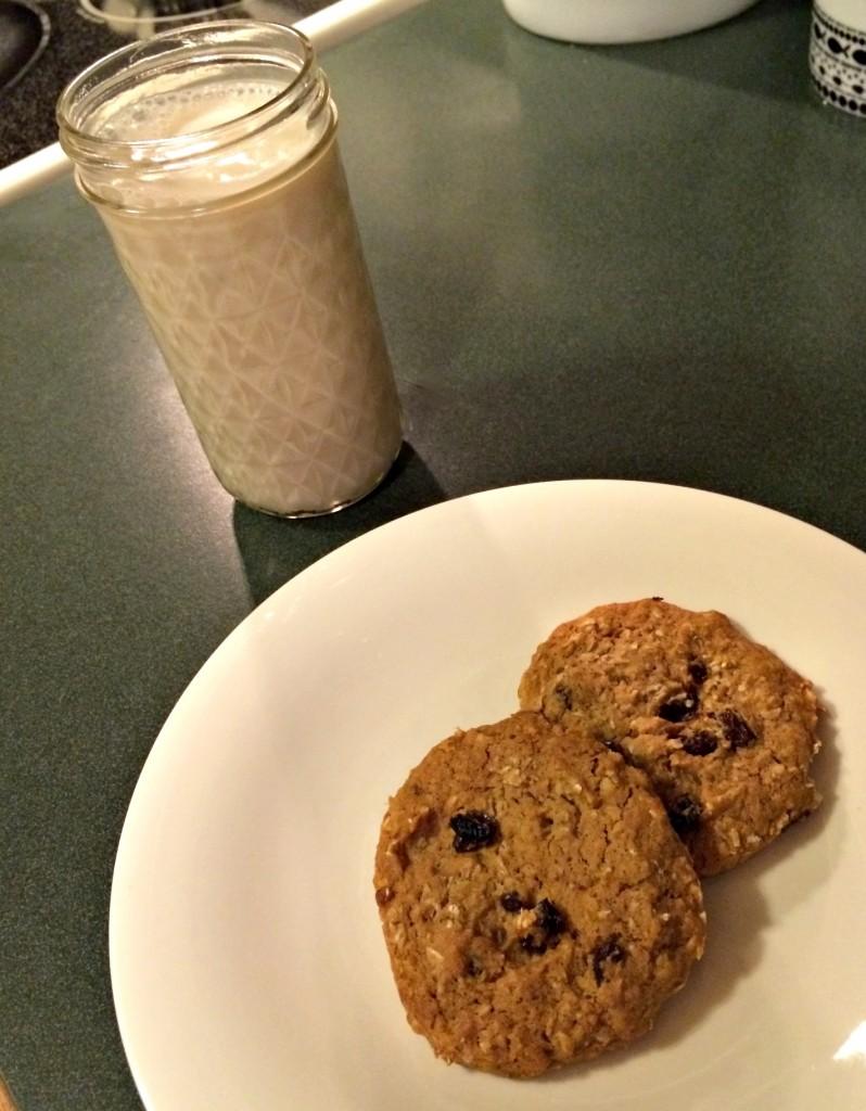 Fiber one oatmeal raisin cookies and almond milk