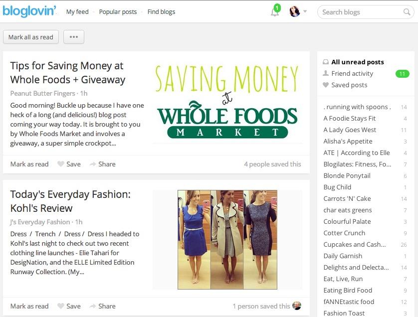 bloglovin feed
