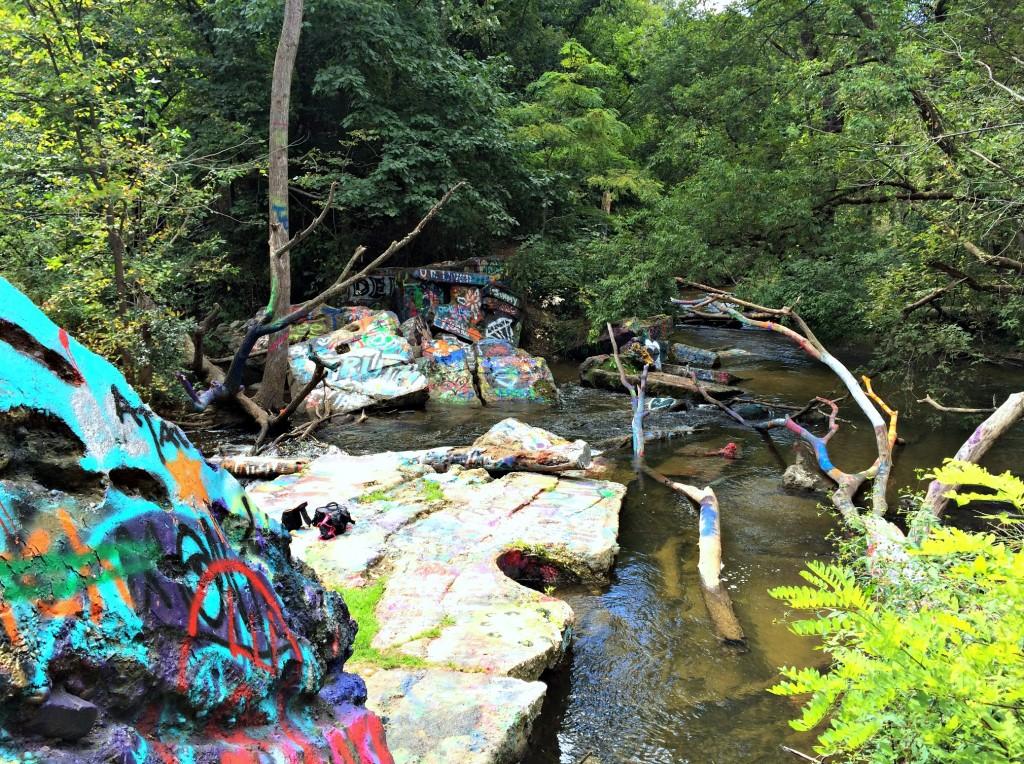 graffiti rocks paint creek trail