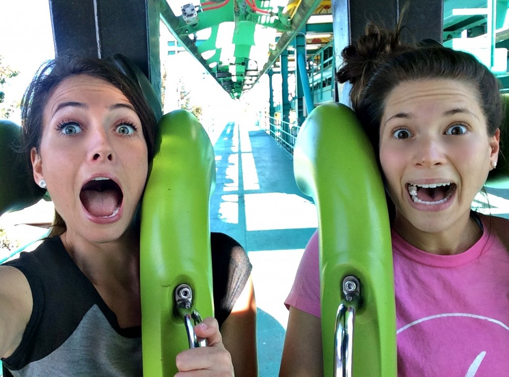 heather and alex on roller coaster