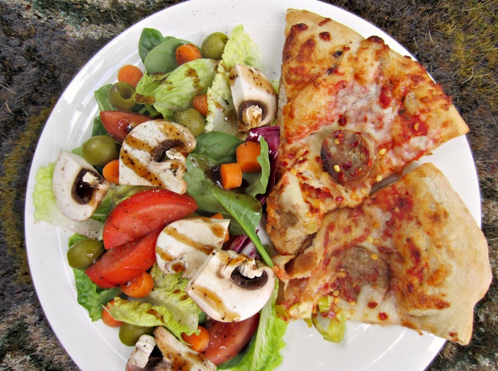 leftover pizza and salad