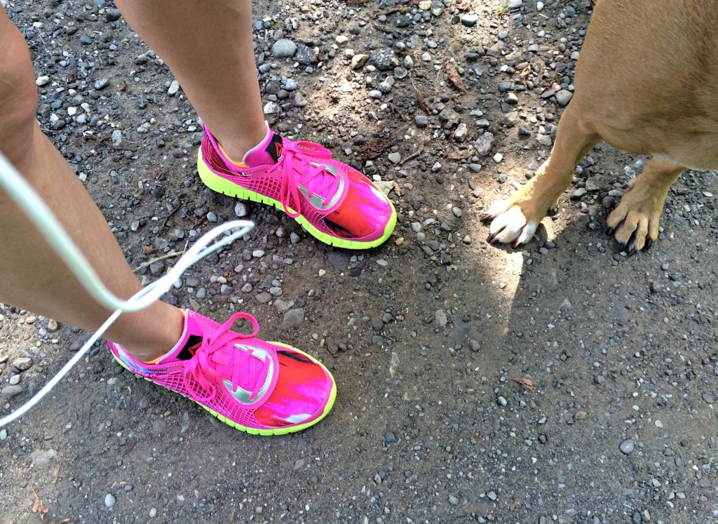 running trails with roadie in reebok z goddess